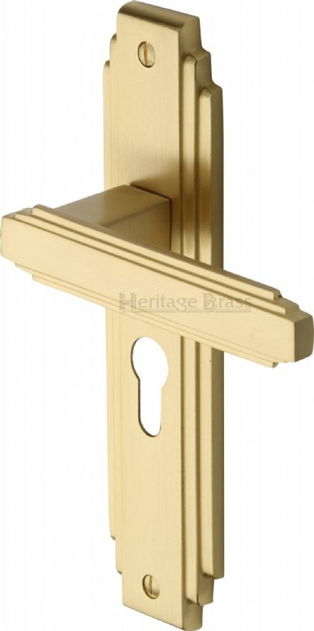M Marcus Heritage Brass AST5948SB Astiora Door Handle on Euro Profile Backplate Satin Brass